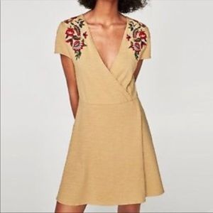 Zara Knit Embroidered Faux Wrap Dress NWT